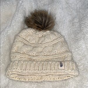 The North Face cream fuzzy hat